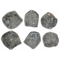 Lot of three Mexico City, Mexico, cob minors with chopmarks as from circulation in Asia: 2R Philip I