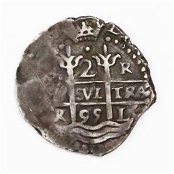 Lima, Peru, cob 2 reales, 1695R.