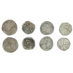 Lot of four Potosi, Bolivia, cob 2 reales, Philip II, various assayers (where visible).