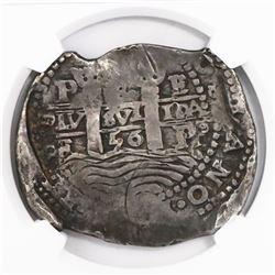 Potosi, Bolivia, cob 8 reales, 1656E, encapsulated NGC VF 25.