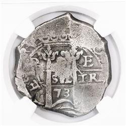 Potosi, Bolivia, cob 8 reales, 1673E, encapsulated NGC F 15.