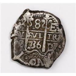Potosi, Bolivia, cob 8 reales, 1736E.