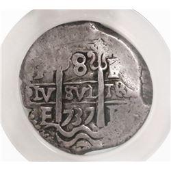 Potosi, Bolivia, cob 8 reales, 1737E, encapsulated NGC VF 30 (extra thick slab).