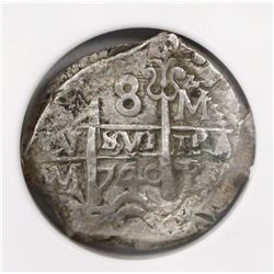 Potosi, Bolivia, cob 8 reales, 1740M, encapsulated NGC XF 45 (extra thick slab).