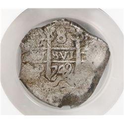 Potosi, Bolivia, cob 8 reales, 1749q, encapsulated NGC VF 30 (extra thick slab).