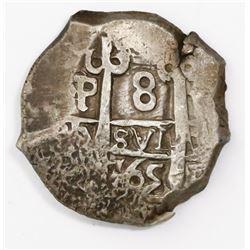 Potosi, Bolivia, cob 8 reales, 1765(V-Y).