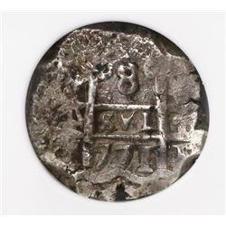 Potosi, Bolivia, cob 8 reales, 1771(V)-Y, encapsulated NGC XF 40 (extra thick slab).