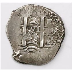 Potosi, Bolivia, cob 2 reales, 1668/7E, rare.