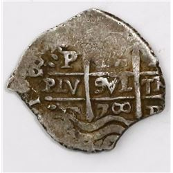 Potosi, Bolivia, cob 2 reales, 1700F.