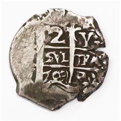Potosi, Bolivia, cob 2 reales, 1703Y.