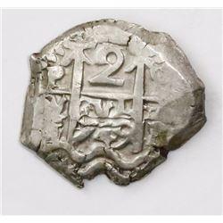 Potosi, Bolivia, cob 2 reales, 1749q.