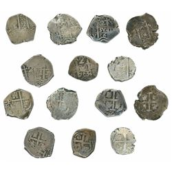 Lot of seven Potosi, Bolivia, cob 2 reales, as follows: 1672E, 1703Y, 1706Y, 1707Y, 1716Y, 1763(V-Y)