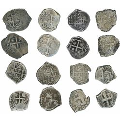 Lot of eight Potosi, Bolivia, cob 2 reales of the 1700s: 1716Y, 1737M, 1746q, 1750E/q, 1755(q), 1762