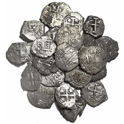 Large lot of 22 Potosi, Bolivia, cob 2 reales, Philip IV to Charles III, various dates and assayers.