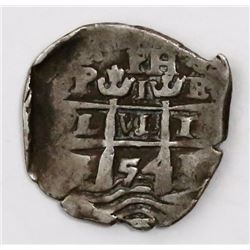 Potosi, Bolivia, cob 1 real, 1654E, PH at top, motto PL-VL-TR.