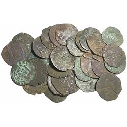 Large lot of 28 Santo Domingo (Dominican Republic) copper 4 maravedis, Charles-Joanna, assayer F or