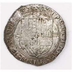 Seville, Spain, cob 4 reales, Philip II, assayer Gothic D at 4 and 8 o'clock outside tressure on rev