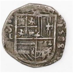Seville, Spain, cob 1 real, 1588/7 date to right (unlisted), assayer Gothic D below mintmark S and d