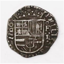 Valladolid, Spain, cob 1 real, (15)90 date above mintmark to left, assayer oF above denomination I t