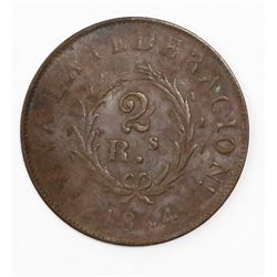 Buenos Aires, Argentina, copper 2 reales, 1844.