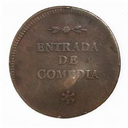 Buenos Aires, Argentina, copper theater token, 1840s.