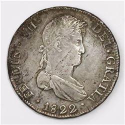 Potosi, Bolivia, bust 8 reales, Ferdinand VII, 1822PJ, ex-Almanzar.