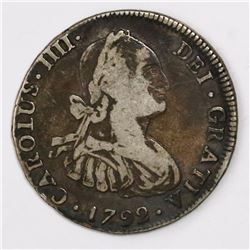 Potosi, Bolivia, bust 4 reales, Charles IV (large bust), 1792PR.