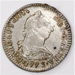 Potosi, Bolivia, bust 1 real, Charles III, 1773JR.