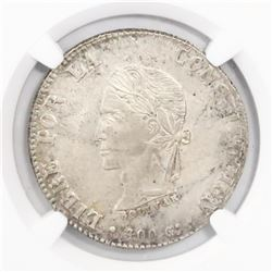 Potosi, Bolivia, 8 soles, 1862FP, encapsulated NGC UNC details / surface hairlines.