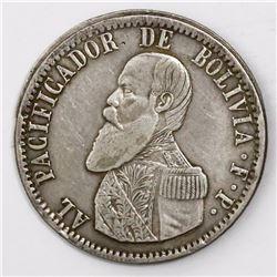 Potosi, Bolivia, 1 melgarejo, 1865FP.