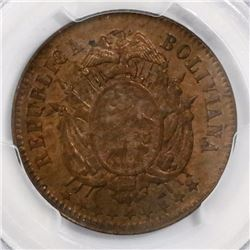 Bolivia, bronze essai 2 centavos, 1883EG, encapsulated PCGS SP64RB.