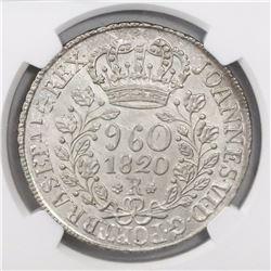 Brazil (Rio mint), 960 reis, Joao VI, 1820-R, struck over a Lima, Peru, 8 reales, Ferdinand VII, 181