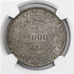 Brazil, 2000 reis, Pedro II, 1852, encapsulated NGC MS 62.