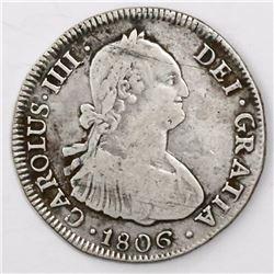 Santiago, Chile, bust 4 reales, Charles IV, 1806FJ.