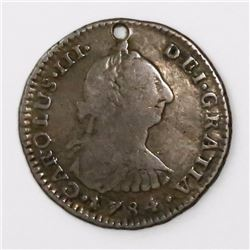 Bogota, Colombia, bust 1 real, Charles III, 1784JJ, rare.