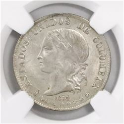 Medellin, Colombia, 2 decimos, 1874, encapsulated NGC MS 62, finest and only specimen in NGC census.