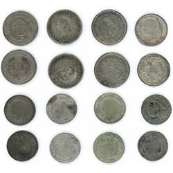 Study collection of eight Colombian 1/2 decimos including mints of Bogota, Medellin and Popayan and