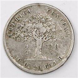 Costa Rica, 1/4 peso, 1850JB.