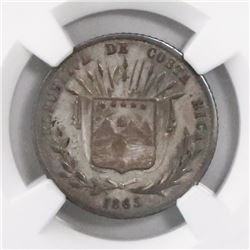 Costa Rica, 10 centavos, 1865GW, encapsulated NGC VF 30.