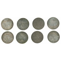 Lot of four Costa Rica 10 centavos 1865GW, Ceiba tree type, four different die varieties.