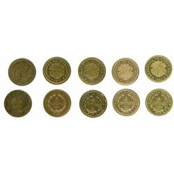 Lot of five Costa Rica 5 centavos (1917 and 1919) and 5 centimos (1920, 1936 and 1940).
