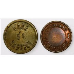 Lot of two Costa Rica brass hacienda tokens, pre-1878 and 1904.