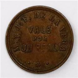 Matanzas, Cuba, copper 1 real token, 1864, Ingenio Ecuador / M. y J.F. de la Vega.
