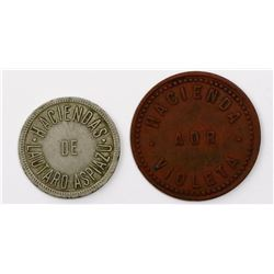 Lot of two Ecuador hacienda tokens of the late 1800s or early 1900s.