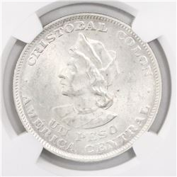 El Salvador, 1 peso, 1908CAM, encapsulated NGC MS 62.