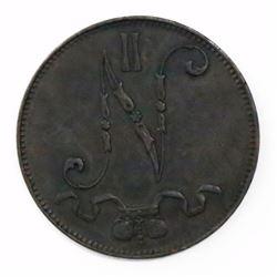 Finland (Helsinki mint), copper 5 pennia, Nicolas II, 1899.