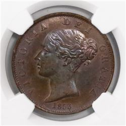 Great Britain, copper 1/2 penny, Victoria, 1853, encapsulated NGC MS 64 BN.