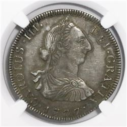 Guatemala, bust 4 reales, Charles III, 1777P, encapsulated NGC XF details / surface hairlines, ex-Ri