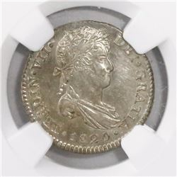 Guatemala, bust 1 real, Ferdinand VII, 1820M, encapsulated NGC MS 64, ex-Richard Stuart (designated