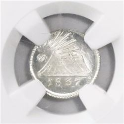 Guatemala, Central American Republic, 1/4 real, 1837, encapsulated NGC MS 67, ex-Richard Stuart (des